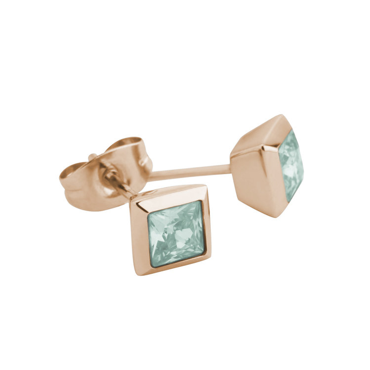 Melano Square Earstuds Liza Stainless Steel Rose Gold-coloured Zirkonia Turquoise