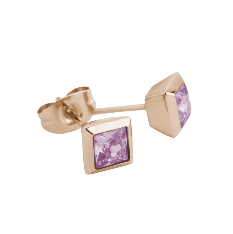 Melano Square Earstuds Liza Stainless Steel Rose Gold-coloured Zirkonia Pink