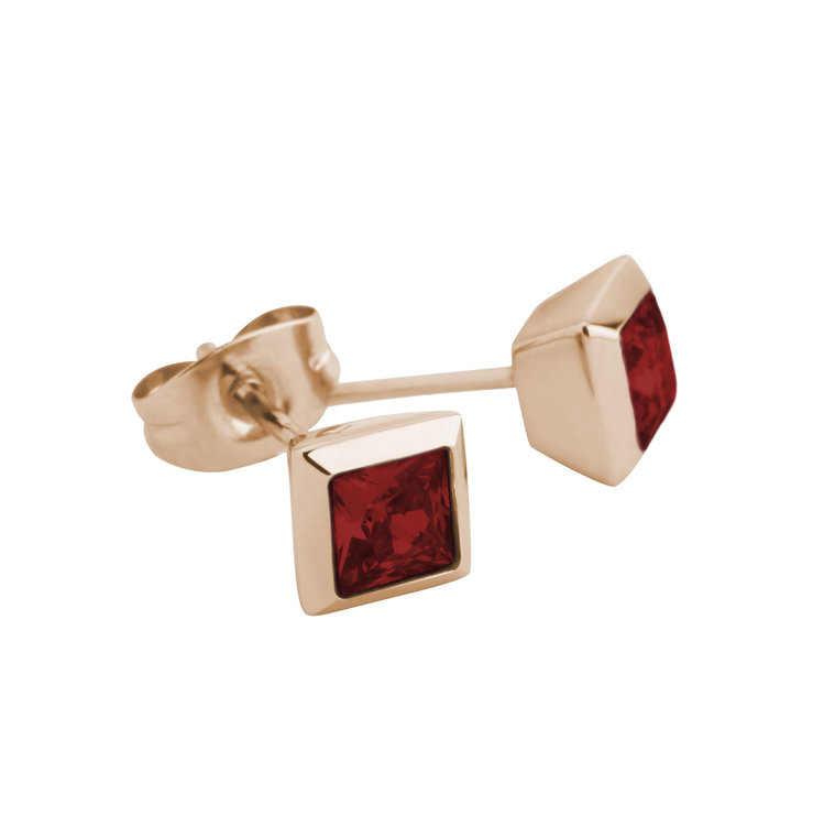 Melano Square Earstuds Liza Stainless Steel Rose Gold-coloured Zirkonia Dark Red