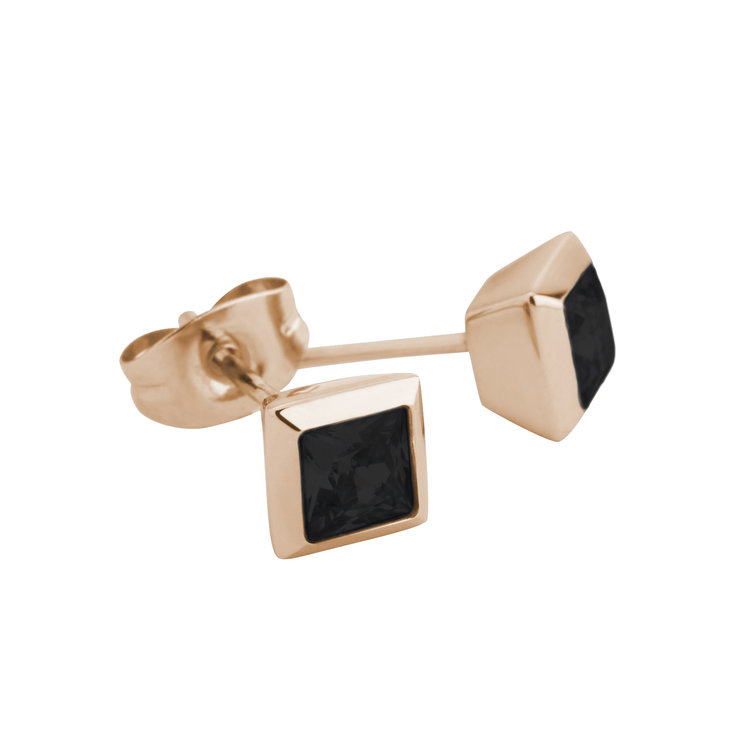 Melano Square Earstuds Liza Stainless Steel Rose Gold-coloured Zirkonia Black