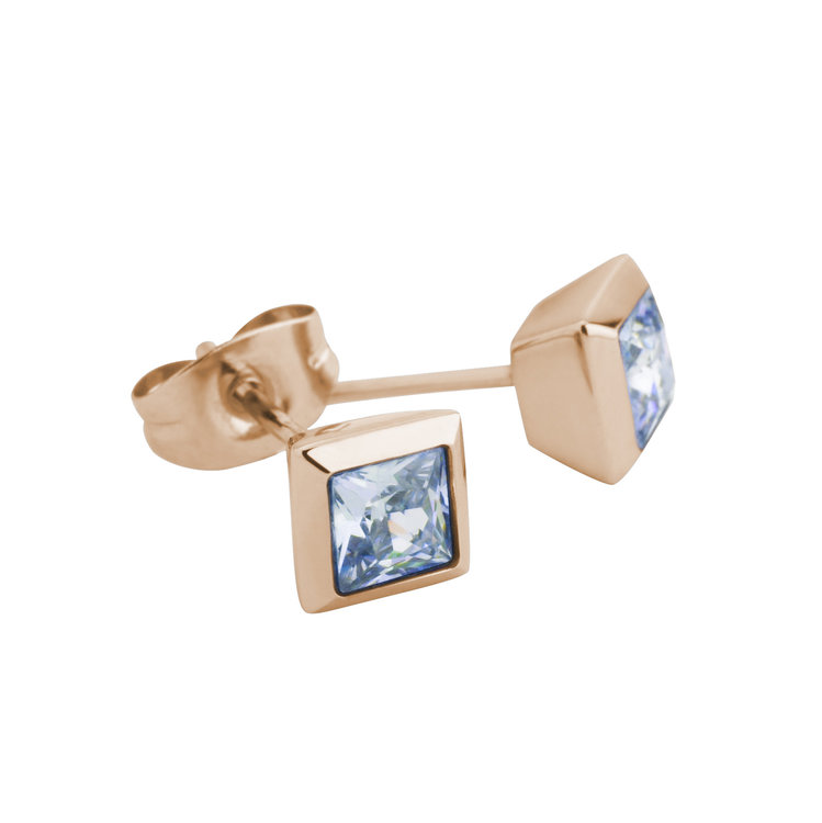 Melano Square Earstuds Liza Stainless Steel Rose Gold-coloured Zirkonia AB