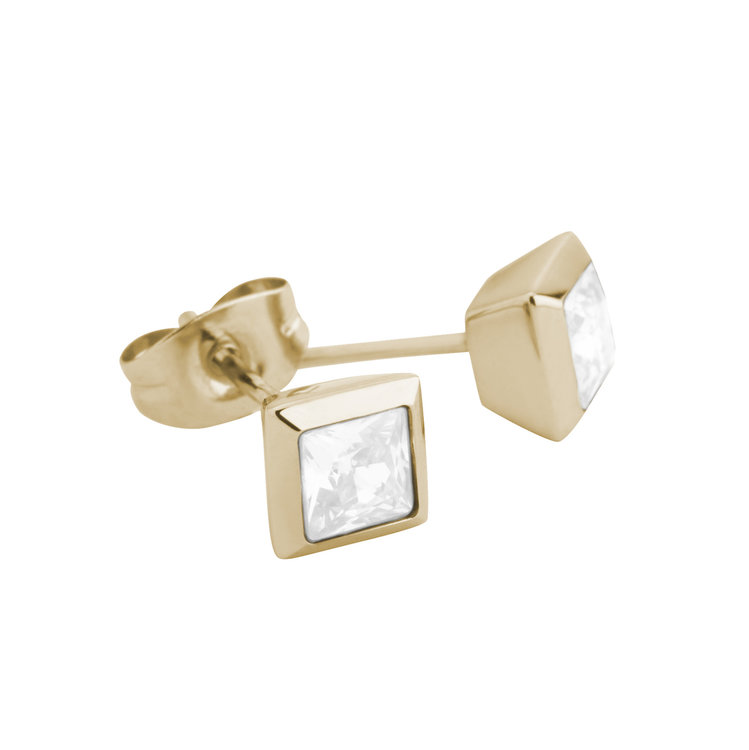 Melano Square Earstuds Liza Stainless Steel Gold-coloured Zirkonia White
