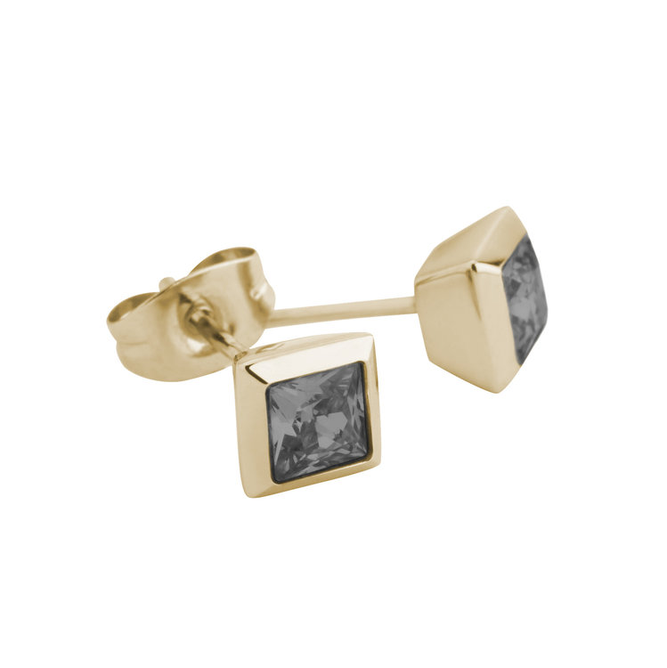 Melano Square Earstuds Liza Stainless Steel Gold-coloured Zirkonia Transparant Black