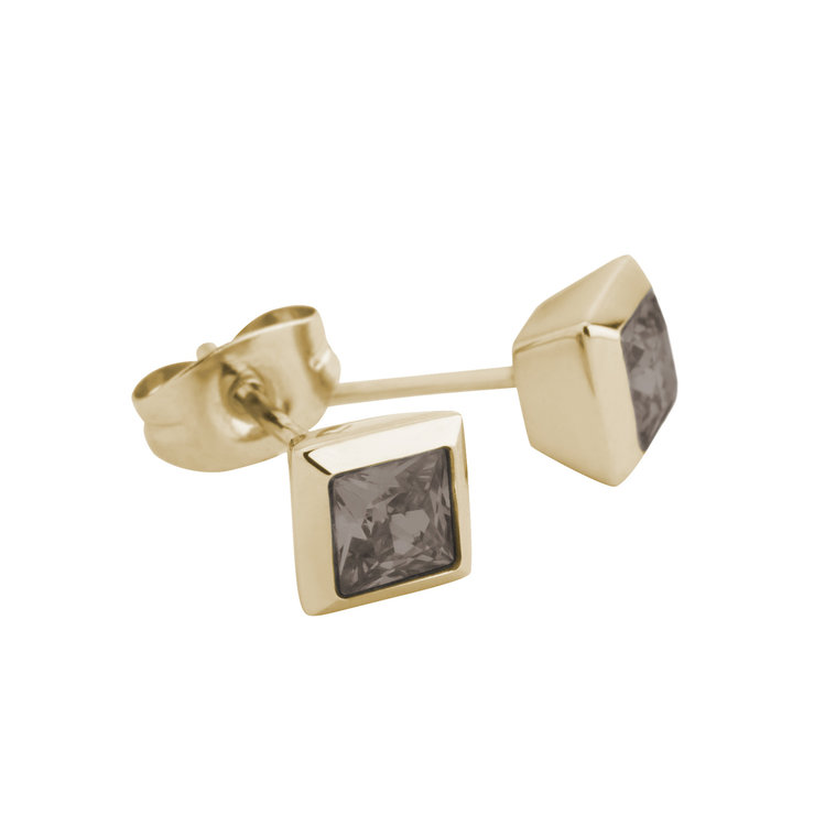 Melano Square Earstuds Liza Stainless Steel Gold-coloured Zirkonia Smoked Topaz