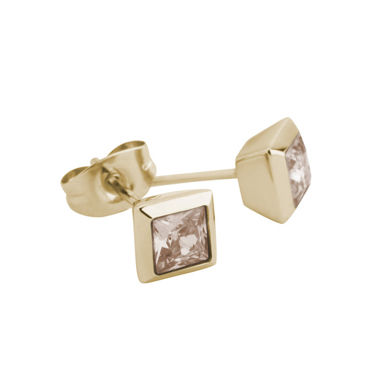 Melano Square Earstuds Liza Stainless Steel Gold-coloured Zirkonia Salmon
