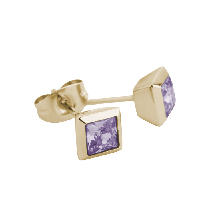 Melano Square Earstuds Liza Stainless Steel Gold-coloured Zirkonia Lavendel