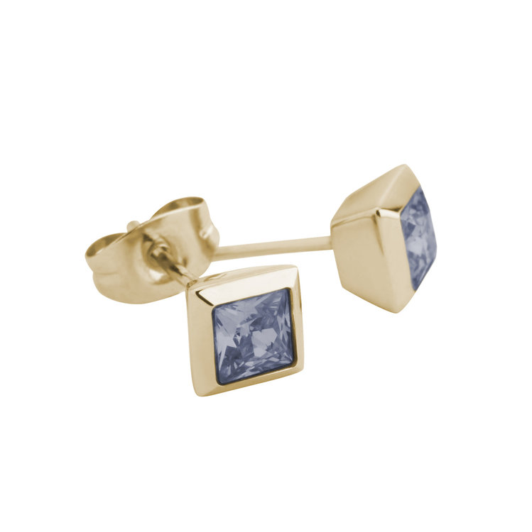 Melano Square Earstuds Liza Stainless Steel Gold-coloured Zirkonia Jeans Blue