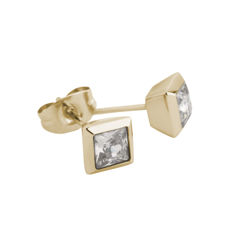 Melano Square Earstuds Liza Stainless Steel Gold-coloured Zirkonia Coffee