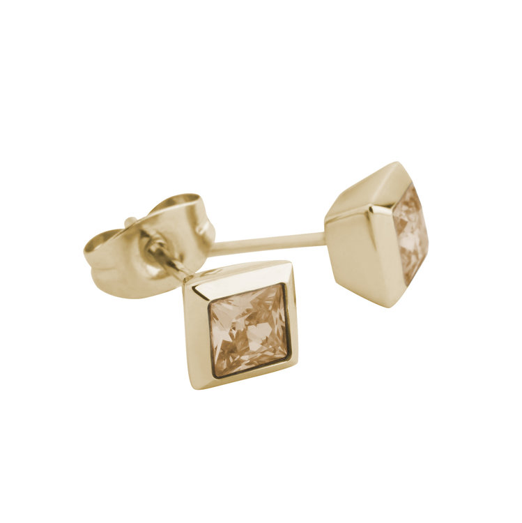 Melano Square Earstuds Liza Stainless Steel Gold-coloured Zirkonia Blue