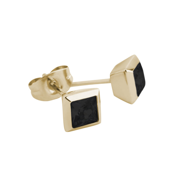 Melano Square Earstuds Liza Stainless Steel Gold-coloured Zirkonia Black