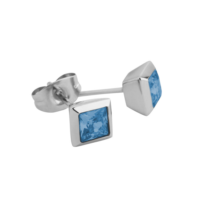 Melano Square Earstuds Liza Stainless Steel Silver-coloured Zirkonia Spinel