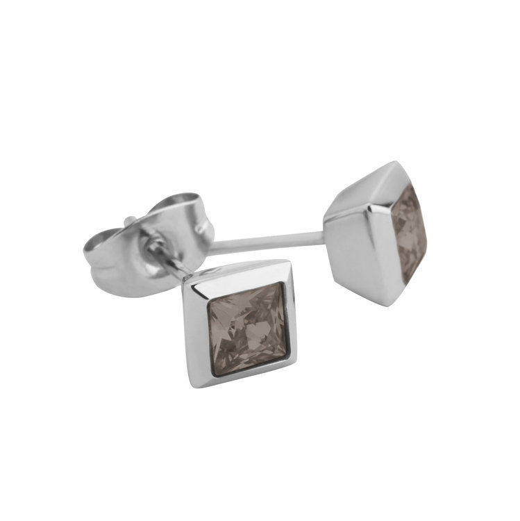 Melano Square Earstuds Liza Stainless Steel Silver-coloured Zirkonia Smoked Topaz
