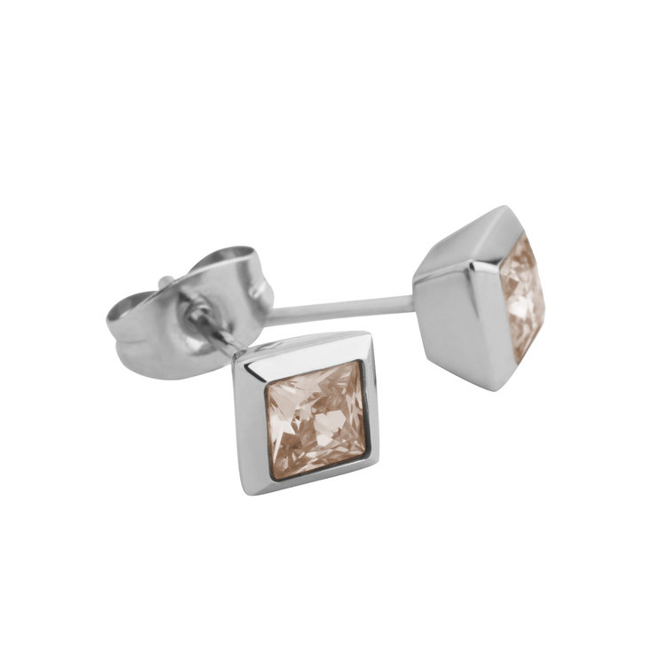 Melano Square Earstuds Liza Stainless Steel Silver-coloured Zirkonia Salmon