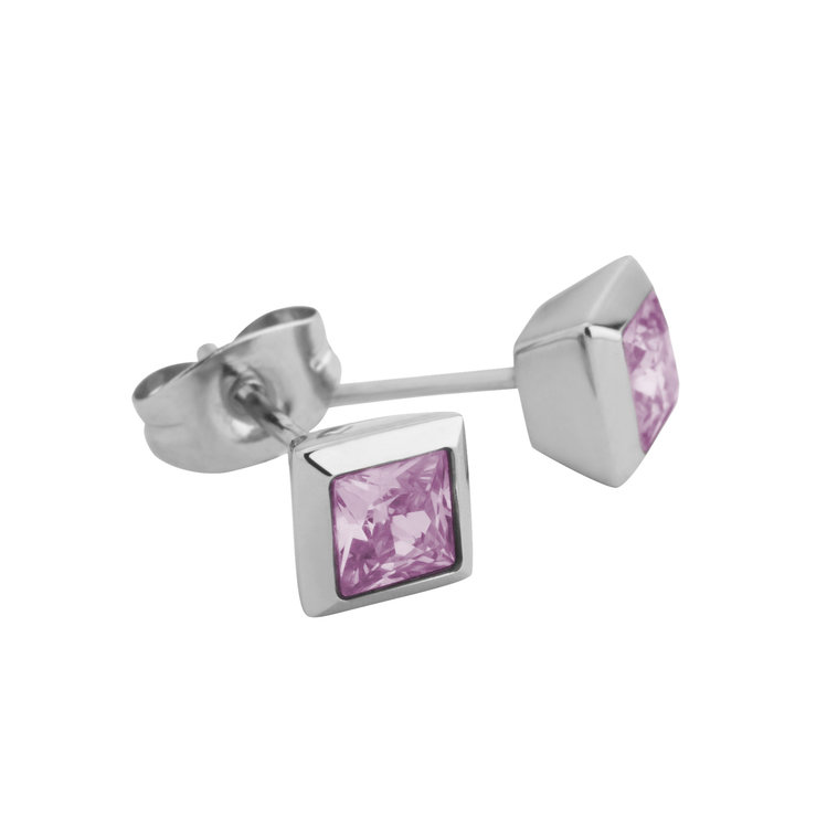 Melano Square Earstuds Liza Stainless Steel Silver-coloured Zirkonia Pink