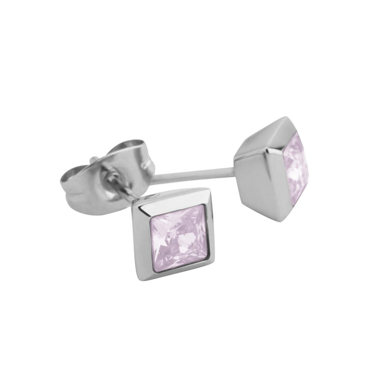 Melano Square Earstuds Liza Stainless Steel Silver-coloured Zirkonia Milk Pink