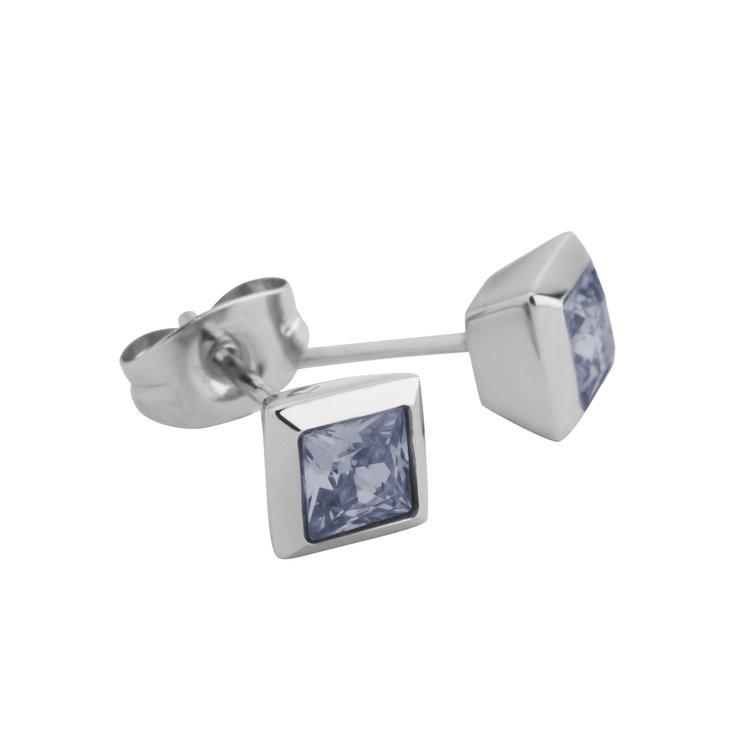 Melano Square Earstuds Liza Stainless Steel Silver-coloured Zirkonia Jeans Blue