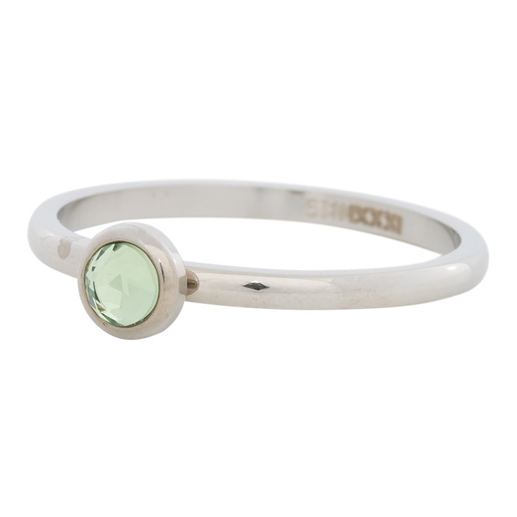 iXXXi Ring 2mm Edelstaal Zilverkleurig Natuursteen Light Green