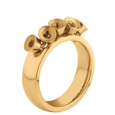 Melano Twisted Ring Tess Edelstaal Goudkleurig