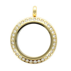 Alexander Jacobs Jewels Edelstaal Locket Goudkleurig met Zirkonia Crystal 25mm