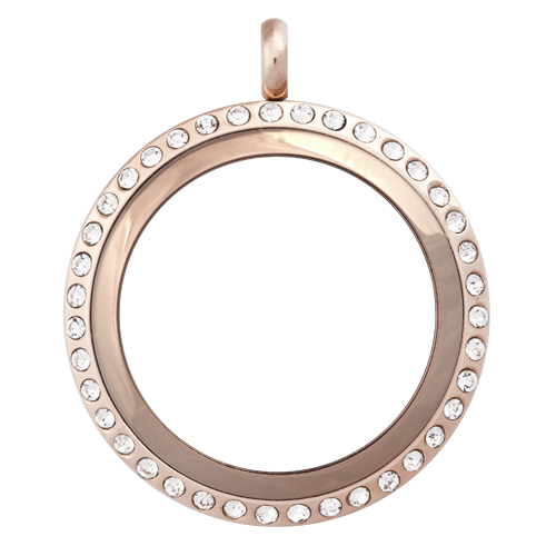 Alexander Jacobs Jewels Edelstaal Locket Rose Goudkleurig met Zirkonia Crystal 30mm