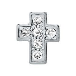 Alexander Jacobs Jewels Floating Charm Edelstaal Zilverkleurig Kruis Zirkonia Crystal