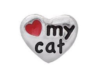 Alexander Jacobs Jewels Floating Charm Edelstaal Zilverkleurig Love my Cat