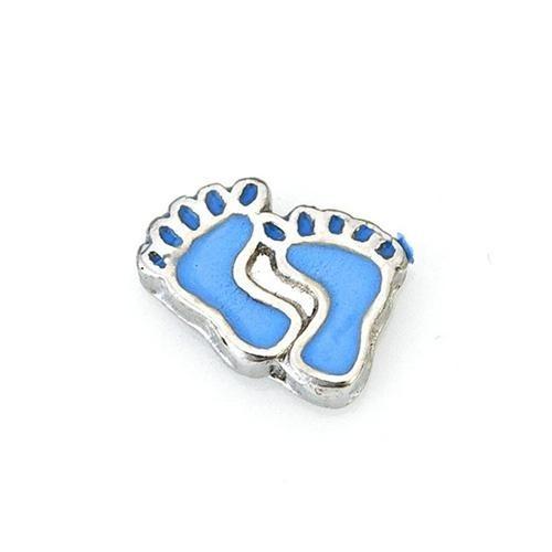 Alexander Jacobs Jewels Floating Charm Edelstaal Blauwe Baby Voetjes