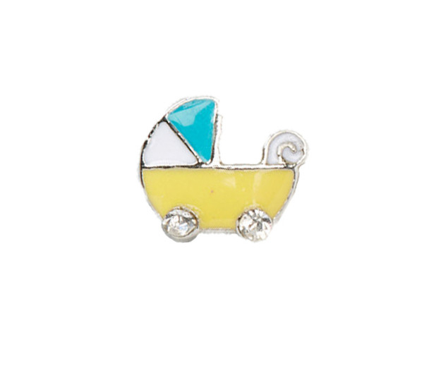 Alexander Jacobs Jewels Floating Charm Edelstaal Gele Kinderwagen