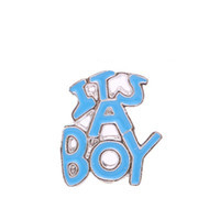 Alexander Jacobs Jewels Floating Charm Edelstaal Blauw It's a Boy