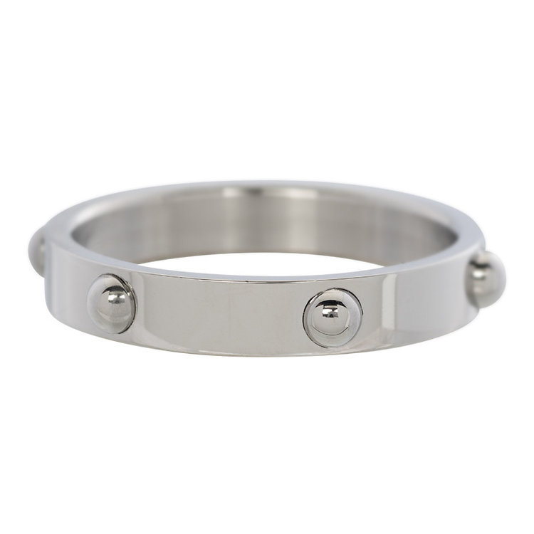 iXXXi Ring 4mm Edelstaal Dots Zilver