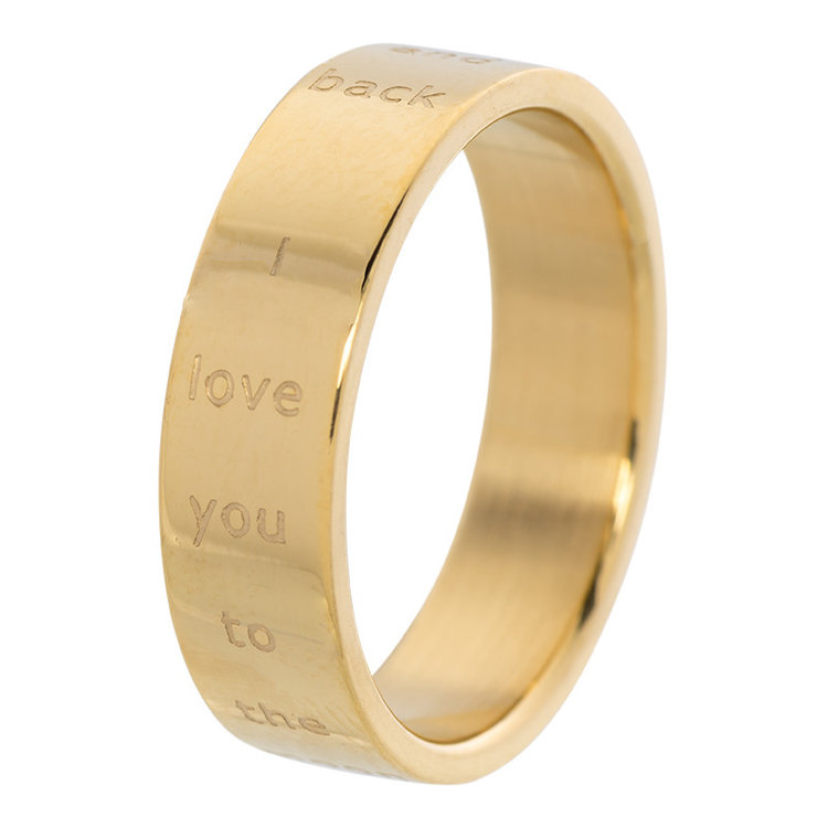 iXXXi Ring 6mm Edelstaal Love You to the Moon and Back Goud