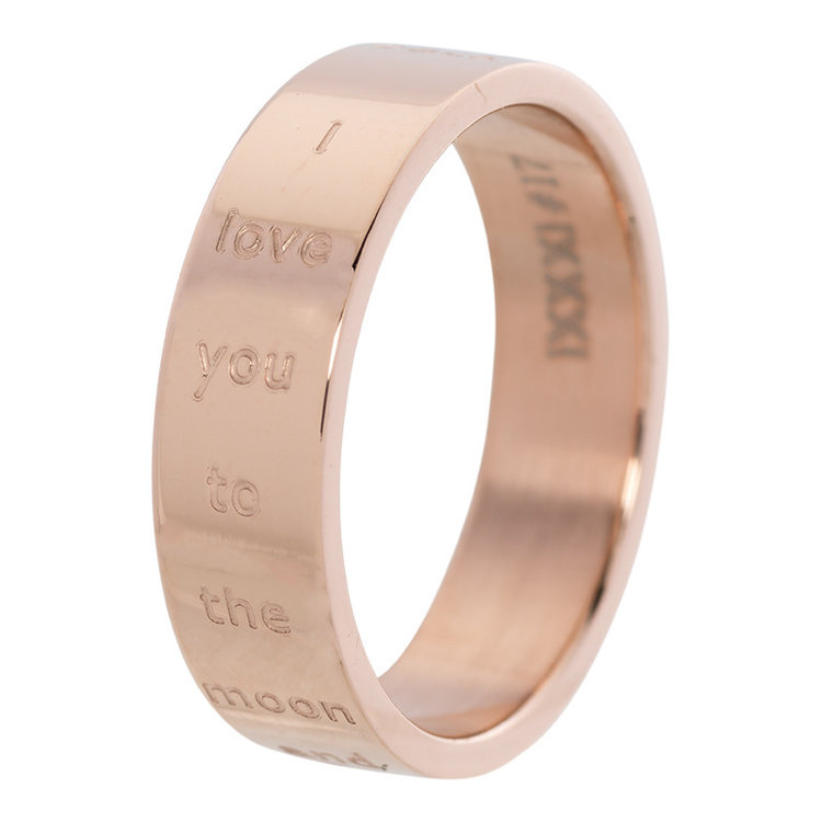 iXXXi Ring 6mm Edelstaal Love You to the Moon and Back Rose Goud