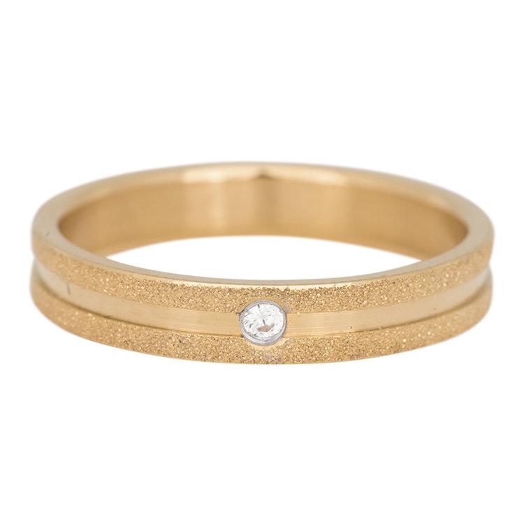 iXXXi Ring 4mm Edelstaal Sandblasted Goud Zirkonia Crystal