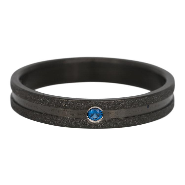 iXXXi Ring 4mm Edelstaal Sandblasted Zwart Zirkonia Montana