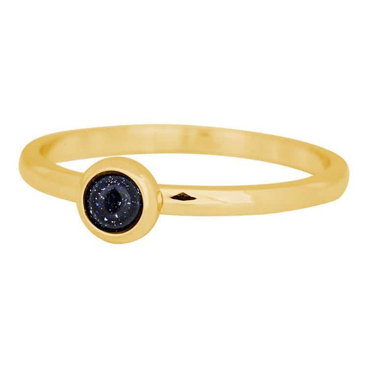 iXXXi Ring 2mm Edelstaal Goud Natuursteen Dark Blue