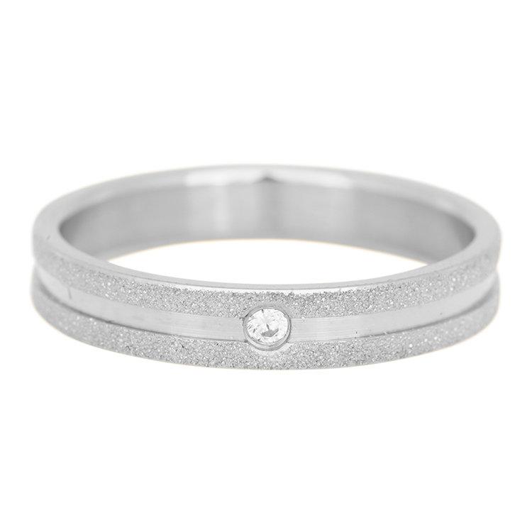 iXXXi Ring 4mm Edelstaal Sandblasted Zilver Zirkonia Crystal