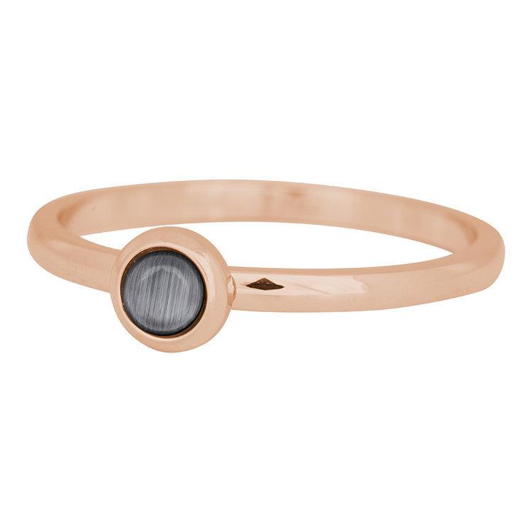 iXXXi Ring 2mm Edelstaal Rose Goud Natuursteen Grijs