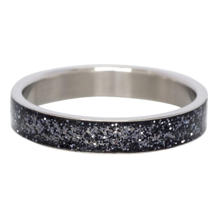 iXXXi Ring 4mm Edelstaal Glitter Zwart