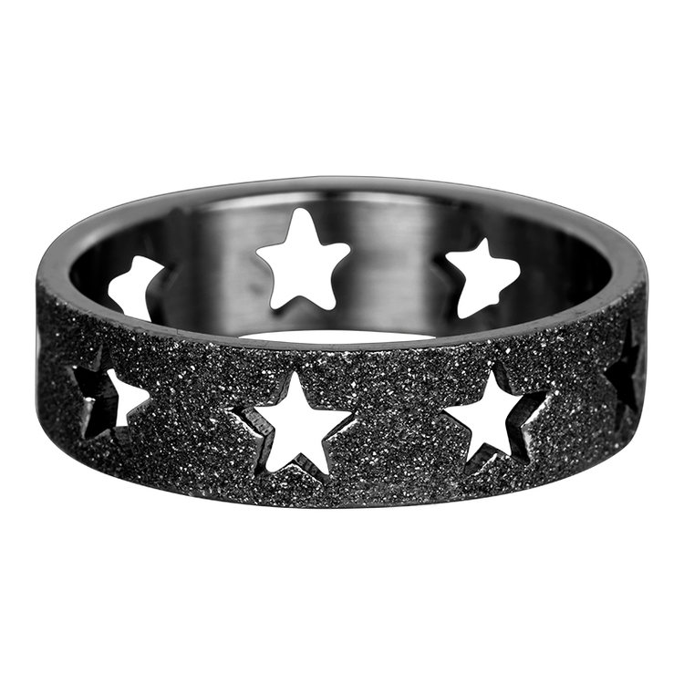 iXXXi Ring 6mm Zwart Open Stars Sandblasted