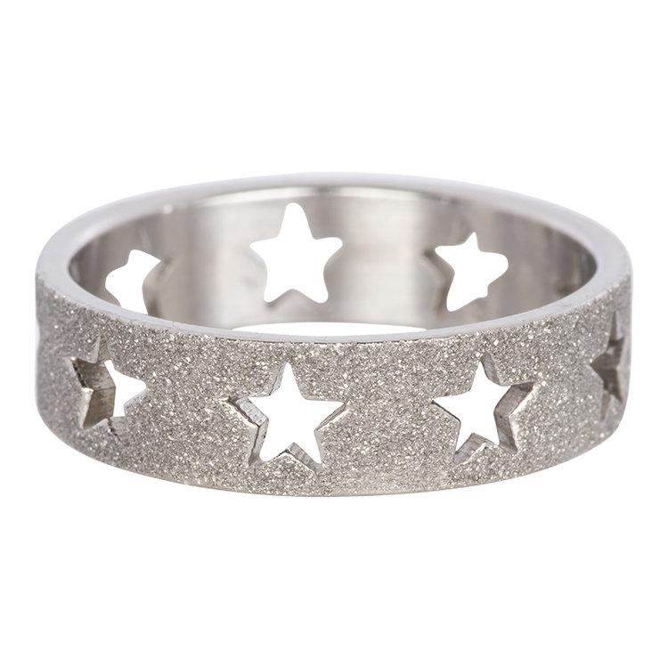 iXXXi Ring 6mm Zilver Open Stars Sandblasted
