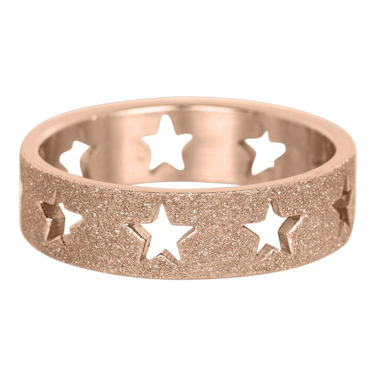 iXXXi Ring 6mm Rose Goud Open Stars Sandblasted