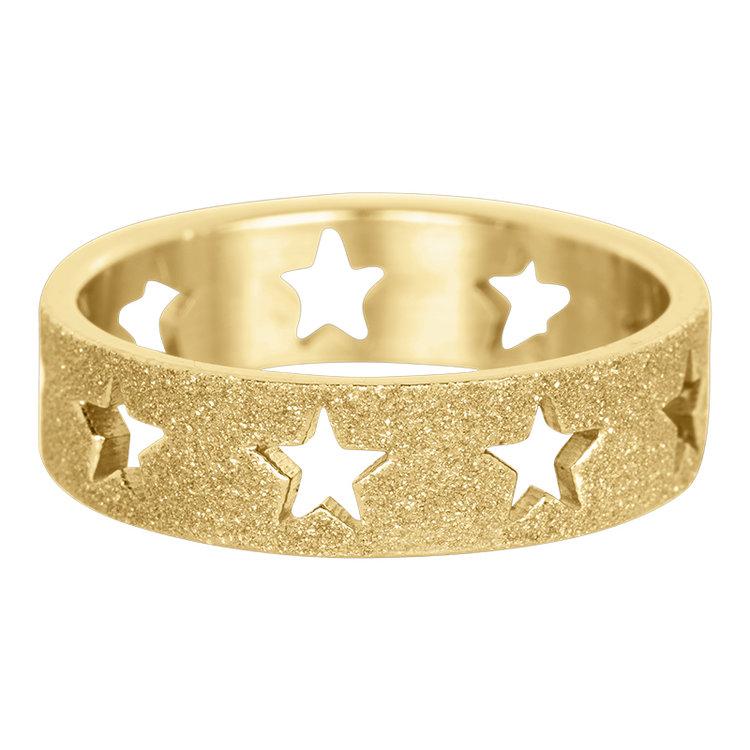 iXXXi Ring 6mm Goud Open Stars Sandblasted