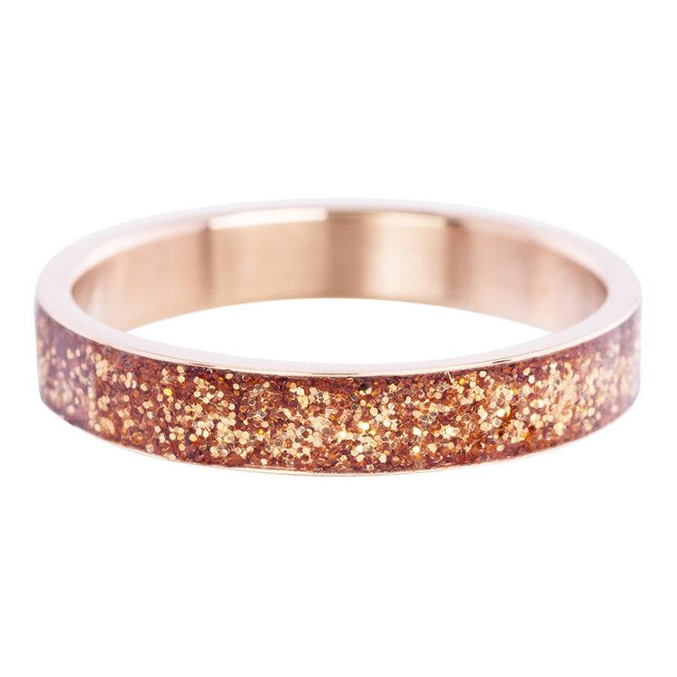 iXXXi Ring 4mm Edelstaal Glitter Rose Goud