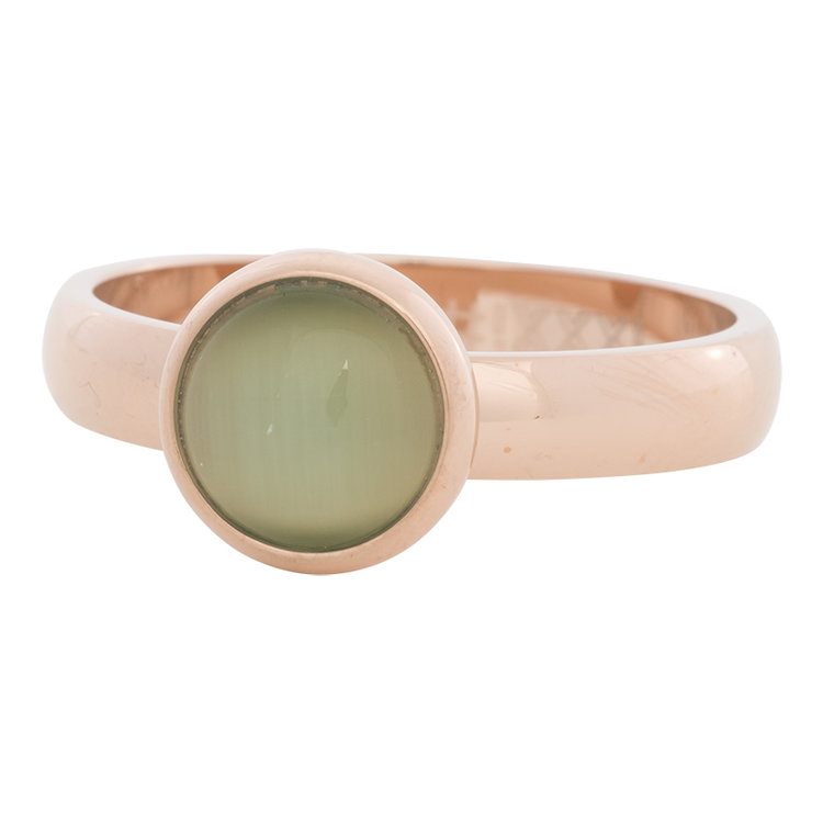 iXXXi Ring 4mm Edelstaal Rose Goud 10mm Cateye Green