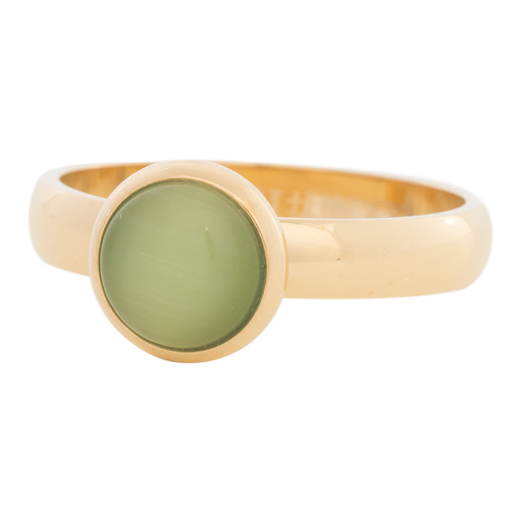 iXXXi Ring 4mm Edelstaal Goud 10mm Cateye Green