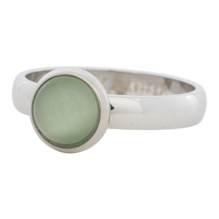 iXXXi Ring 4mm Edelstaal Zilver 10mm Cateye Green