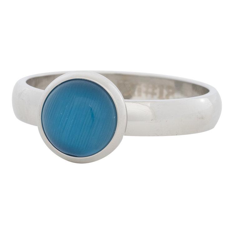 iXXXi Ring 4mm Edelstaal Zilver 10mm Cateye Blue