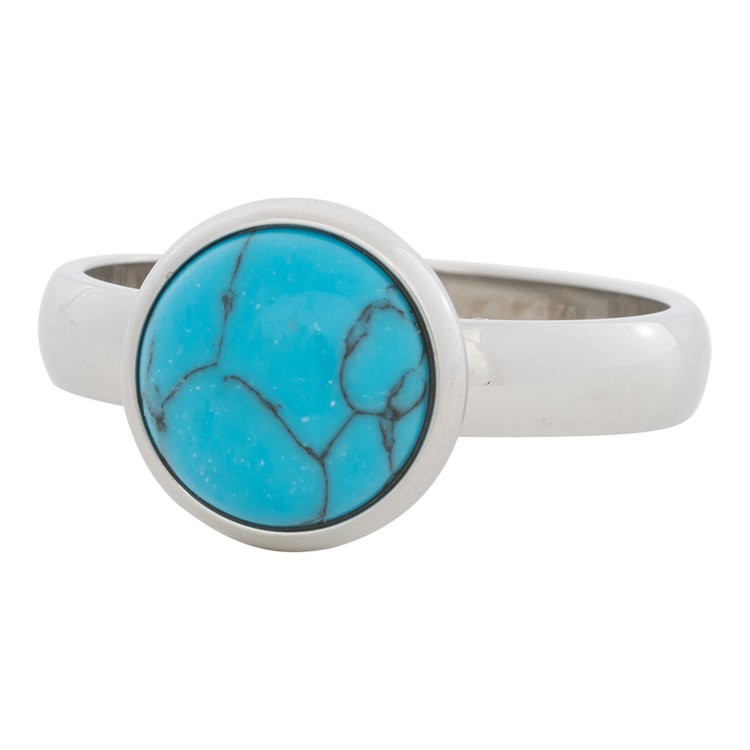 iXXXi Ring 4mm Edelstaal Zilver 12mm Turquoise