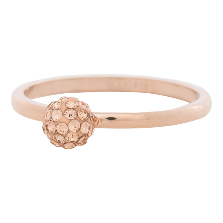 iXXXi Ring 2mm Edelstaal Rose Goud Ball Fill Rose Gold Crystal