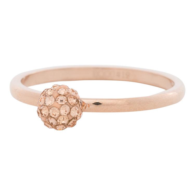 iXXXi Ring 2mm Edelstaal Rose Goudkleurig Ball Fill Rose Gold Crystal